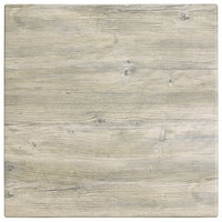 Grosfillex 99841171 32 inch Square White Oak Outdoor Molded Melamine Table Top