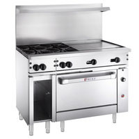 Wolf C48C-4B24GN Challenger XL Series Natural Gas 48 inch Manual Range with 4 Burners, 24 inch Right Side Griddle, and Convection Oven - 195,000 BTU