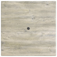 Grosfillex 99841071 32 inch Square White Oak Outdoor Molded Melamine Table Top with Umbrella Hole