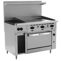 Wolf C48C-2B36GN Challenger XL Series Natural Gas 48 inch Manual Range with 2 Burners, 36 inch Right Side Griddle, and Convection Oven - 155,000 BTU