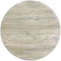 Grosfillex 99520004 24 inch Round White Oak Outdoor Molded Melamine Table Top
