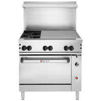 Wolf C48S-2B36GTN Challenger XL Series Natural Gas 48 inch Thermostatic Range with 2 Burners, 36 inch Right Side Griddle, and Standard Oven - 155,000 BTU