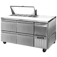Continental Refrigerator CRA68-10-D 68 inch 4 Drawer 1 Half Door Refrigerated Sandwich Prep Table