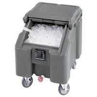 Cambro ICS100L4S191 SlidingLid Granite Gray Portable Ice Bin - 100 lb. Capacity