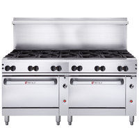 Wolf C72SS-12BN Challenger XL Series Natural Gas 72 inch Range with 12 Burners and 2 Standard Ovens - 430,000 BTU