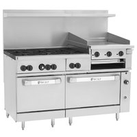 Wolf C60SC-6B24GBN Challenger XL Series Natural Gas 60 inch Manual Range with 6 Burners, 24 inch Griddle/Broiler, 1 Standard, and 1 Convection Oven - 268,000 BTU