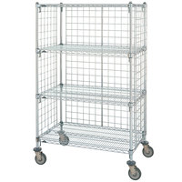 Metro Super Erecta AST35MC Chrome Wire Slanted Shelf Truck 24 inch x 36 inch x 62 inch