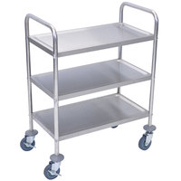 Luxor L100S3 Stainless Steel 3 Shelf Utility Cart - 16 inch x 26 inch x 35 inch
