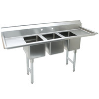 Advance Tabco K7-CS-21 58 inch Three Compartment Convenience Store Sink with Two Drainboards