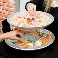 American Metalcraft 2 Tier Seafood Tower Set with Large Aluminum Trays and Stand