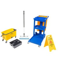 Lavex Janitorial Blue Janitor Cart and Microfiber Wet Mop Kit