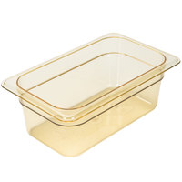 Cambro 44HP150 H-Pan™ 1/4 Size Amber High Heat Plastic Food Pan - 4 inch Deep