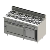 Blodgett BR-10-2436C-NAT Natural Gas 10 Burner 60 inch Range with 1 Convection Oven and 1 Standard Oven Base - 360,000 BTU