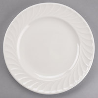 Tuxton MEA-104 Meridian 10 1/2 inch Ivory (American White) Swirl Rim China Plate - 12/Case