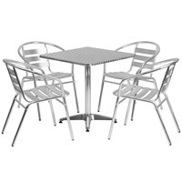Flash Furniture TLH-ALUM-28SQ-017BCHR-GG 27 1/2 inch Square Aluminum Indoor / Outdoor Table with 4 Slat Back Stacking Chairs