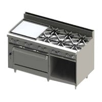 Blodgett BR-24GT-6-36-NAT Natural Gas 6 Burner 60 inch Thermostatic Range with 24 inch Left Side Griddle, 1 Standard Oven, and 1 Cabinet Base - 258,000 BTU