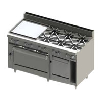 Blodgett BR-24G-6-2436C-LP Liquid Propane 6 Burner 60 inch Manual Range with 24 inch Left Side Griddle, 1 Convection Oven, and 1 Standard Oven - 288,000 BTU