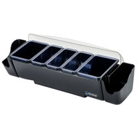 San Jamar BD4023S The Dome 5-Compartment Condiment Bar with Snap-On Caddies
