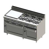 Blodgett BR-24GT-6-2436-NAT Natural Gas 6 Burner 60 inch Thermostatic Range with 24 inch Left Side Griddle and Double Oven Base - 288,000 BTU