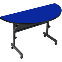 Correll Deluxe Half Round Flip Top Table, 24 inch x 48 inch High Pressure Adjustable Height, Blue - FT2448HR-37