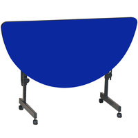 Correll FT2448HR-37 Deluxe 24 inch x 48 inch Half Round Blue High Pressure Adjustable Height Flip Top Table