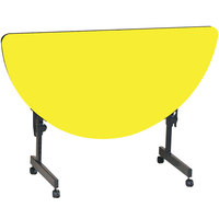 Correll Deluxe Half Round Flip Top Table, 24 inch x 48 inch High Pressure Adjustable Height, Yellow - FT2448HR-38