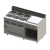 Blodgett BR-6-24GT-36-LP Liquid Propane 6 Burner 60 inch Thermostatic Range with 24 inch Right Side Griddle, 1 Standard Oven, and 1 Cabinet Base - 258,000 BTU