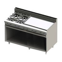 Blodgett BR-4-36GT-NAT Natural Gas 4 Burner 60 inch Thermostatic Range with 36 inch Right Side Griddle and Cabinet Base - 192,000 BTU