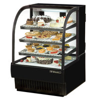 True TCGR-36 36 inch Black Curved Glass Refrigerated Bakery Display Case - 19 Cu. Ft.