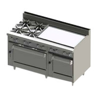 Blodgett BR-4-36GT-2436-LP Liquid Propane 4 Burner 60 inch Thermostatic Range with 36 inch Right Side Griddle and Double Oven Base - 252,000 BTU