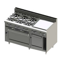 Blodgett BR-6-24GT-2436C-LP Liquid Propane 6 Burner 60 inch Thermostatic Range with 24 inch Right Side Griddle, 1 Convection Oven, and 1 Standard Oven - 288,000 BTU