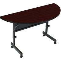 Correll Deluxe Half Round Flip Top Table, 24 inch x 48 inch High Pressure Adjustable Height, Mahogany - FT2448HR-20