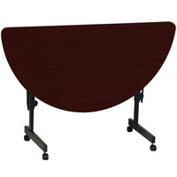Correll FT2448HR-20 Deluxe 24 inch x 48 inch Half Round Mahogany High Pressure Adjustable Height Flip Top Table