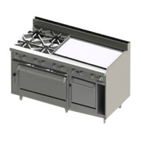 Blodgett BR-4-36GT-2436C-LP Liquid Propane 4 Burner 60 inch Thermostatic Range with 36 inch Right Side Griddle, 1 Convection Oven, and 1 Standard Oven - 252,000 BTU