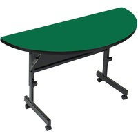Correll Deluxe Half Round Flip Top Table, 24 inch x 48 inch High Pressure Adjustable Height, Green - FT2448HR-39