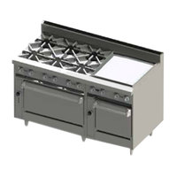 Blodgett BR-6-24G-2436-LP Liquid Propane 6 Burner 60 inch Manual Range with 24 inch Right Side Griddle and Double Oven Base - 288,000 BTU