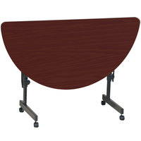 Correll Deluxe Half Round Flip Top Table, 24 inch x 48 inch High Pressure Adjustable Height, Cherry - FT2448HR-21