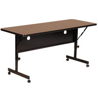 Correll Deluxe Flip Top Table, High Pressure Adjustable Height, 24 inch x 72 inch, Walnut- FT2472-01