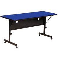 Correll Deluxe Flip Top Table, High Pressure Adjustable Height, 24 inch x 72 inch, Blue- FT2472-37