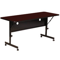 Correll Deluxe Flip Top Table, High Pressure Adjustable Height, 24 inch x 60 inch, Mahogany- FT2460-20