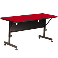 Correll Deluxe Flip Top Table, High Pressure Adjustable Height, 24 inch x 60 inch, Red- FT2460-35