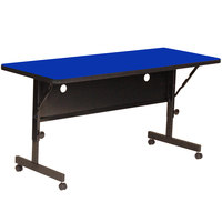 Correll Deluxe Flip Top Table, High Pressure Adjustable Height, 24 inch x 60 inch, Blue- FT2460-37
