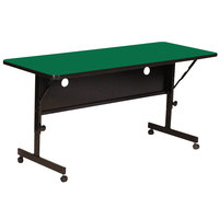 Correll Deluxe Flip Top Table, High Pressure Adjustable Height, 24 inch x 72 inch, Green- FT2472-39