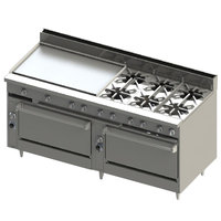 Blodgett BR-36GT-6-3636-LP Liquid Propane 6 Burner 72 inch Thermostatic Range with 36 inch Left Griddle and Double Standard Oven Base - 312,000 BTU