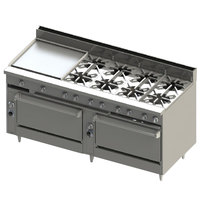 Blodgett BR-24GT-8-3636-LP Liquid Propane 8 Burner 72 inch Thermostatic Range with 24 inch Left Griddle and Double Standard Oven Base - 348,000 BTU