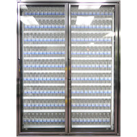 Styleline CL2472-HH 20//20 Plus 24 inch x 72 inch Walk-In Cooler Merchandiser Doors with Shelving - Anodized Bright Silver, Right Hinge - 2/Set