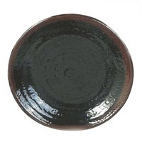 Thunder Group 1710TM Tenmoku Black 10 1/2 inch Melamine Round Plate - 12/Pack