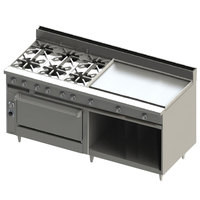 Blodgett BR-6-36GT-36-NAT Natural Gas 6 Burner 72 inch Thermostatic Range with 36 inch Right Griddle, 1 Standard Oven, and 1 Cabinet Base - 282,000 BTU