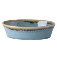 Cardinal Arcoroc FJ358 Terrastone 10 oz. Blue Porcelain Oval Baker - 12/Case
