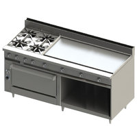Blodgett BR-4-48GT-36-NAT Natural Gas 4 Burner 72 inch Thermostatic Range with 48 inch Right Griddle, 1 Standard Oven, and 1 Cabinet Base - 246,000 BTU